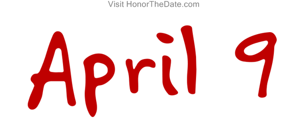 Image Of The Calendar Date April 9th Drawn In Red Isolated On A White Background